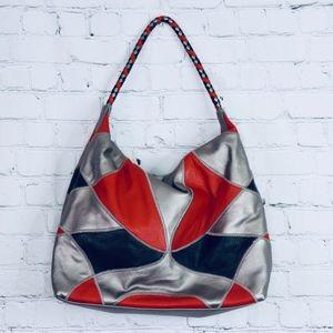 FALCHI: Harlequin Leather Shoulder Bag
